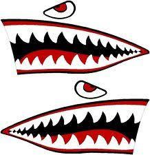 Shark Mouth Sticker Graphic Design Print Nose Art Shark Mouth