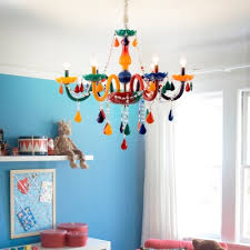 Multicolored 6 Bulb Chandelier In Crystal Accent Style For Kids Bedroom With Adjustable Chain Susuohome Com
