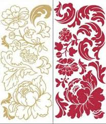 Damask Floral Scroll Ornate Gilded Red Rose Wall Decal Sticker Mural Wall Decor Ebay