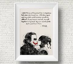 joker and harley quinn inspired quote watercolor painting
