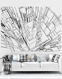 Line Art Of City Buildings Sky View Vinyl Wall Decal Sticker 5255 Stickerbrand