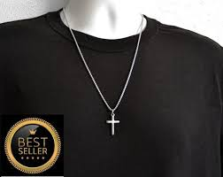 mens cross necklace silver necklace