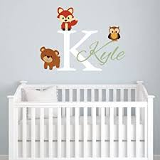 Amazon Com Animals Forest Friends Personalized Kids Name Wall Decal Nursery Monogram Vinyl Wall Sticker Fox Bear And Owl Vinyl Lettering For Kids Bedroom Baby