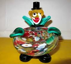 vintage murano glass clown bowl tall 6