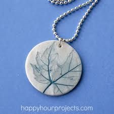 leaf imprinted clay necklace happy