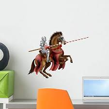 Amazon Com Wallmonkeys Lance Wielding Knight Wall Decal Peel And Stick Decals For Boys 18 In W X 14 In H Wm407821 Home Kitchen
