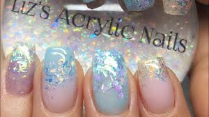 acrylic nails re design baby blue