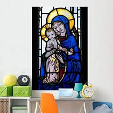 Amazon Com Wallmonkeys Stained Glass Window With Wall Mural Peel And Stick Graphic 72 In H X 48 In W Wm100661 Furniture Decor
