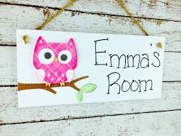 Personalized Kids Room Door Sign Bright Pink Owl On Luulla