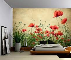 Amazon Com Picture Sensations Canvas Texture Wall Mural Red Poppies Flower Self Adhesive Vinyl Wallpaper Peel Stick Fabric Wall Decal 48x36 Home Kitchen