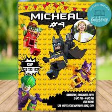 Invitacion De Cumpleanos De Lego Batman Editable Con Foto Diy