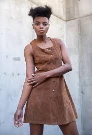 cognac brown suede leather sundress