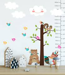 Kids Cute Fox And Bear And Cartoon Tree With Little Birds Wall Decal Sticker Wall Decals Wallmur