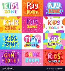 Game Room Kids Playroom Banner In Cartoon Vector Image