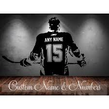 Hockey Player Wall Art Decal Sticker Choose Name Number Personalized Home Decor Wall Stickers For Kids Room Vinilos Paredes D645 Belecthleen