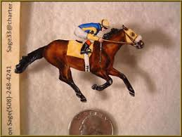 thoroughbred horse racing pin brooch