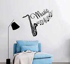 Wall Decal Musical Instrument Saxophone Vinyl Sticker Decals Recording Studio Music Home Decor Bedroom Nursery Art Design Interior Ns454 Amazon Com