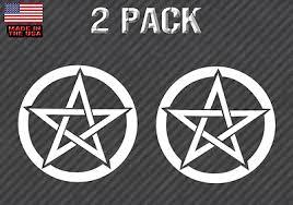 Wiccan Pagan Pentagram Window Sticker Decal Vinyl 5 Inch Gloss Red Finish