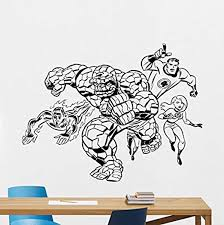 Amazon Com Fantastic Four Wall Decal Marvel Comics Superhero Vinyl Sticker Mister Fantastic Invisible Woman Human Torch Thing Wall Art Design Housewares Kids Room Bedroom Decor Wall Mural 98rt Home Kitchen