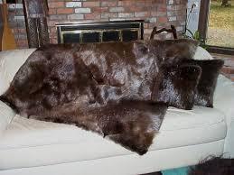 natural beaver fur blanket