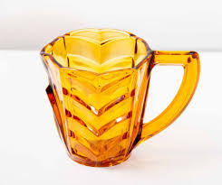 amber glass jug pressed glass milk jug