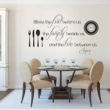 Amazon Com Removable Decal Vinyl Quotes Wall Stickers Decal Mural Family Decal Home Room Decal Bless The Food Before Us X Large Black Home Kitchen