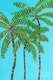 Three Hawaiian Coconut Trees Painting by Darla Smith