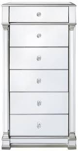silver mirrored 6 drawer tallboy chest