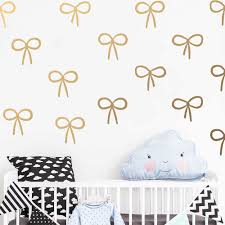56pcs Set Cute Bow Wall Decals Girls Room Decor Gold Decal Cartoon Vinyl Wall Stickers For Baby Girl Kids Nursery Room Jw326 Wall Stickers Aliexpress