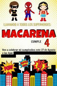 Invitaciones De Superheroes Mami Dientes