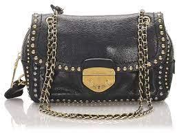 prada prada black studded leather