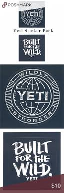 Yeti Sticker Pack Set Of 3 4x4 Stickers All New Yeti Bumper Sticker Vehicle Decal Set Includes 2 Yeti Wildly St Yeti Stickers Bumper Stickers White Stickers