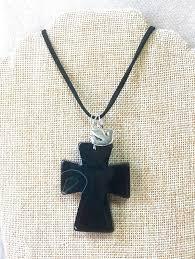 black stone cross necklace uni