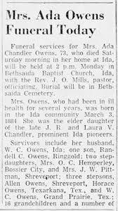 Ada Chandler Owens Obituary (Part 1) - Newspapers.com
