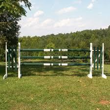 Double Band Colored Cut Rails Poles Wood Horse Jumps Set 3 Platinum Jumps