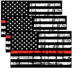 Amazon Com Creatrill Reflective Tattered Thin Red Line Decal Matte Black 3 Packs 3x5 In American Usa Flag Decal Stickers For Cars Trucks Hard Hat In Support Of Firefighters And Emts Arts