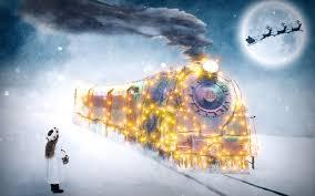 تحميل خلفيات عيد الميلاد 4k الشتاء السنة الجديدة القطار سانتا
