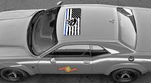 Product 2 Dodge Challenger Window Sunroof Us Flag Hellcat Blue Line Vinyl Windshield Decal Graphic Stickers