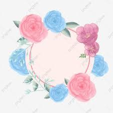 عناصر زخرفية مرسومة باليد زهور ورود ارتفع الأزرق الزخرفية Png