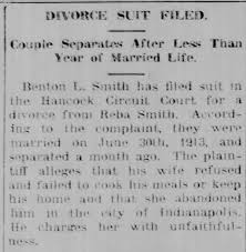 Benton L Smith vs Reba Smith Divorce Suit Filed The Daily Reporter  Greenfield 9 Jun 1914 - Newspapers.com