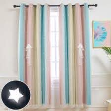 Amazon Com Hughapy Star Curtains Stars Blackout Curtains For Kids Girls Bedroom Living Room Colorful Double Layer Star Cut Out Stripe Window Curtains 1 Panel 52w X 63l Pink Blue Home