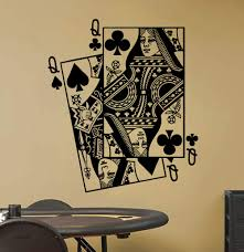 Amazon Com Queen Of Spades And Queen Of Clubs Playing Card Poker Blackjack Vinyl Wall Sticker Decal Handmade
