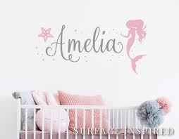 Mermaid With Name Wall Sticker Personalized Name Wall Etsy