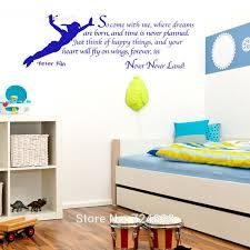 Disney Flying Peter Pan Wall Decal Boys Girls Personalized Neverland Name Vinyl Wall Sticker Baby Nursery Playroom Decor Silhouette Bedroom Home Living Wall Decals Murals Home Living