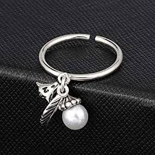 Amazon.com: Luziang Retro Ring Pearl Bell Leaf Opening Ring-Romantic  Fashion Design: Home & Kitchen
