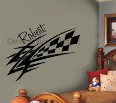 Checkered Racing Decal Custom Name Vinyl Decal Wall Sticker Words Boys Room Vinyl Wall Decals Wall Stickers Words Vinyl Decals