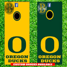 Oregon Ducks Corn Hole Set Of 6 Vinyl Decal Stickers Cornhole Tailgate Toss Ebay