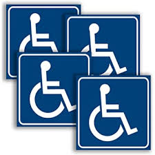Amazon Com Handicap Signs Stickers Decal Symbol 4 Pack 6x6 Inch Ada Compliant Premium Front Adhesive Vinyl For Applying Inside The Window Or Glass Door Disabled Wheelchair Sign Disability Sticker