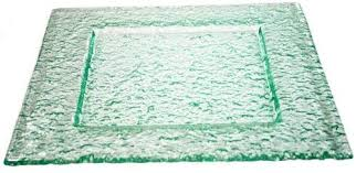 green bubble glass square plates 6 x
