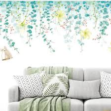 Hanging Twig Leaf Living Room Decal Nature Home Decor Green Plants Window Mural Removable Vinyl Wall Stickers Floral Girls Bedroom Thefuns On Artfire